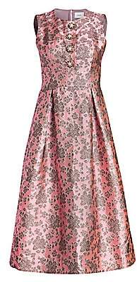 Erdem Women's Davinia Metallic Floral Fit-And-Flare Dress