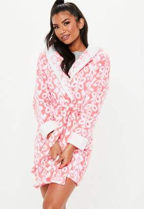 Missguided Coral Fluffy Hooded Floral Print Dressing Gown