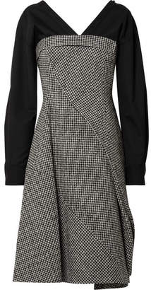 ADEAM - Layered Houndstooth Wool-blend And Cotton-blend Midi Dress - Gray