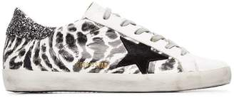 Golden Goose black and white Superstar glitter leopard print cotton sneakers