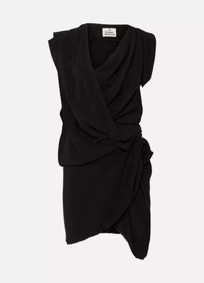 Vivienne Westwood Draped Crepe De Chine Dress - Black