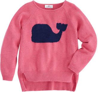Vineyard Vines Girls Whale Intarsia Raglan Sweater