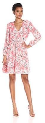 Cynthia Steffe CeCe by Women's Gemma Long-Sleeve V-Neck Floral Wrap Dress