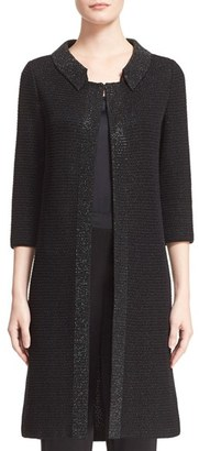Women's St. John Collection 'Allure' Embellished Metallic Knit Topper $1,895 thestylecure.com