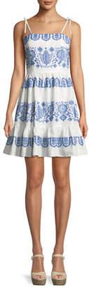Milly Mila Mini Flare Tie-Strap Dress