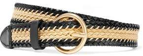 Sandro Celie Woven Leather And Cotton Cord Belt