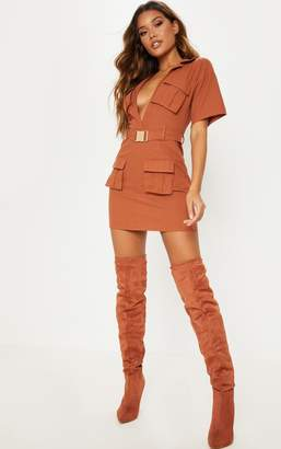 PrettyLittleThing Rust Cargo Utility Gold Buckle Pocket Detail Shift Dress