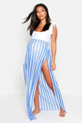 boohoo Maternity Split Beach Maxi Skirt