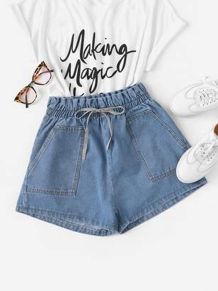 Shein Pocket Detail Lace Bow Tie Front Denim Shorts