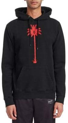 Marcelo Burlon County of Milan Men's Palm Tree Cotton Hoodie - Black - Size XS