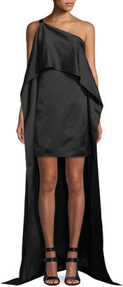 Narciso Rodriguez Duchess Satin One-Shoulder Asymmetric Drape Dress