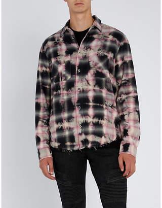 Amiri Distressed tie-dye cotton-flannel shirt
