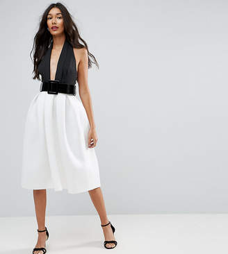 Asos Tall TALL Mono Belted Halter Neck Midi Prom Dress