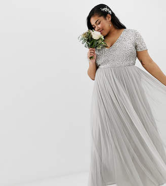 Maya Plus Bridesmaid v neck maxi tulle dress with tonal delicate sequins in soft gray