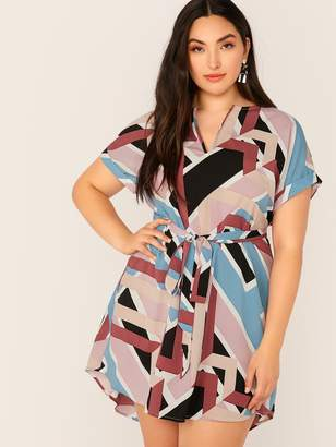 c046ca3a62c72 Shein Plus V-cut Neck Cuffed Sleeve High-low Hem Belted Dress