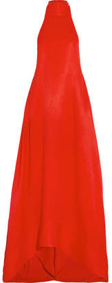 Esme Woven Halterneck Gown - Red