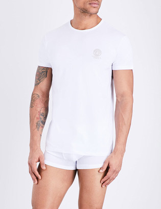 Versace Iconic stretch-cotton t-shirt $47.50 thestylecure.com
