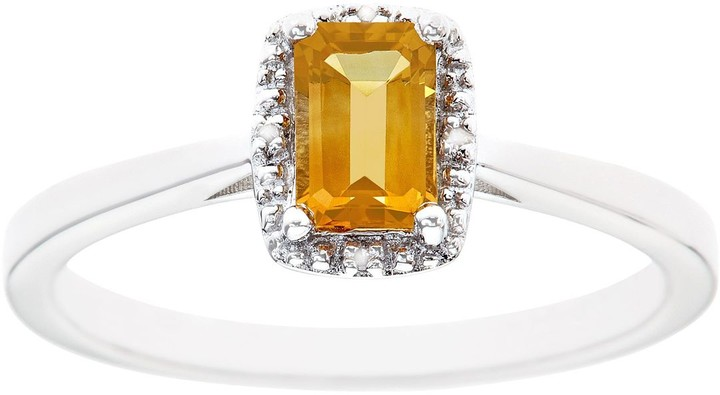 Sterling Silver Citrine & Diamond Accent Rectangle Halo Ring