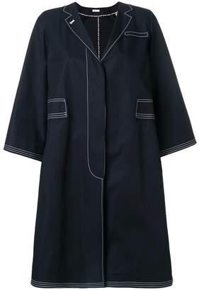 Thom Browne Trompe L'oeil Swing Overcoat In Cotton Twill