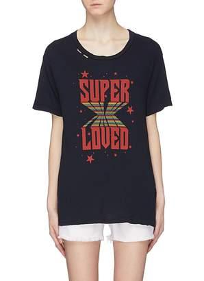 Current/Elliott 'Super Loved' slogan graphic print distressed T-shirt