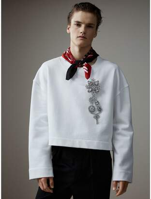 Burberry Cotton Cropped Sweatshirt with Crystal Brooch