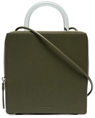 Building Block green Box leather shoulder bag