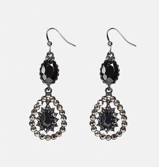 Avenue Black Bead and Stone Drop Earrings