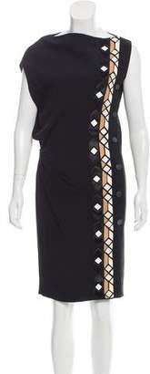 Givenchy Leather-Paneled Knee-Length Dress