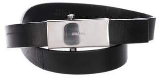 Prada Leather Logo Belt