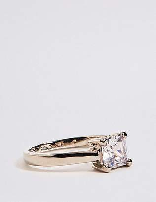 Marks and Spencer Platinum Plated Diamanté Cut Ring