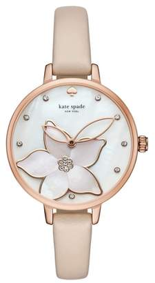 Kate Spade Flower Leather Strap Watch, 34mm