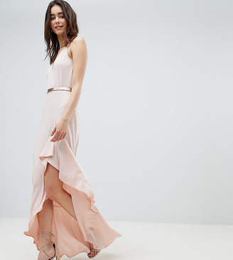 Asos Tall DESIGN Tall cami maxi dress with ruffle side split and gold belt