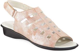 Sesto Meucci Ellia Laser-Cut Shimmer Leather Comfort Sandal