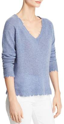 Minnie Rose Distressed Cashmere V-Neck Sweater