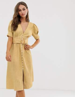 Moon River midi dress with puff sleeves and belt