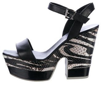 Emporio Armani Leather Ankle Strap Sandals