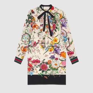 Gucci (グッチ) - フラワー スネーク プリント シルク ドレス