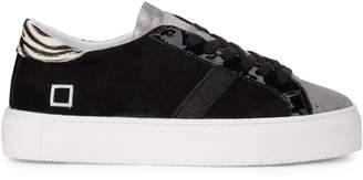 D.A.T.E Vertigo Chamois Black Nabuck And Laminated Leather Sneaker