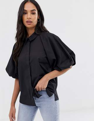 Asos Design DESIGN shirt with short puff sleeve detail