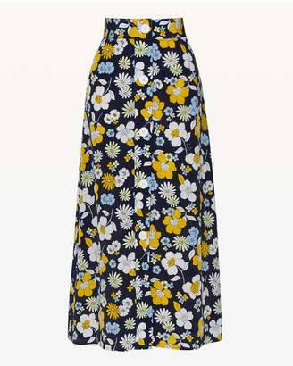 Juicy Couture Garden Floral Silk Midi Skirt