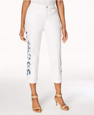 Style&Co. Style & Co Embroidered Cropped Boyfriend Jeans, Created for Macy's