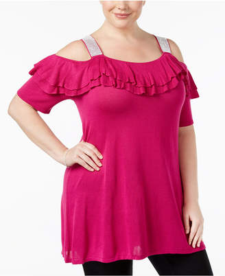 Belldini Plus Size Ruffled Cold-Shoulder Tunic