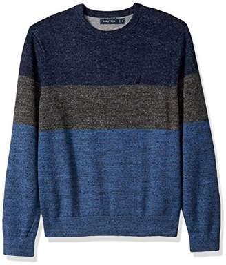 Nautica Men's Standard Long Sleeve Colorblocked Crew Neck Sweater