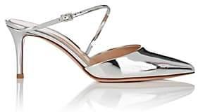 Gianvito Rossi Women's Asymmetric-Strap Specchio Leather Mules - Silver