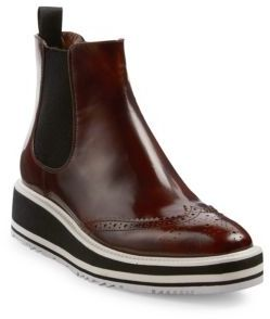 Prada Microsole Leather Brogue Chelsea Booties