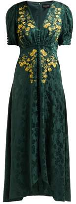 Saloni Lea Floral Embroidered Silk Satin Dress - Womens - Green Multi