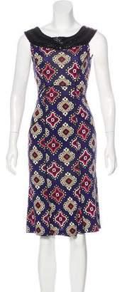 Diane von Furstenberg Bead-Accented Printed Dress