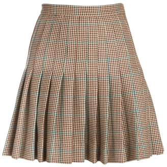 Off-White Off White Check Pleated Wool Mini Skirt