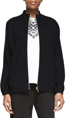 Joan Vass Mock-Neck Zip-Front Jacket, Petite