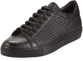 Jared Lang Men's Spike-Leather Low-Top Sneakers, Black